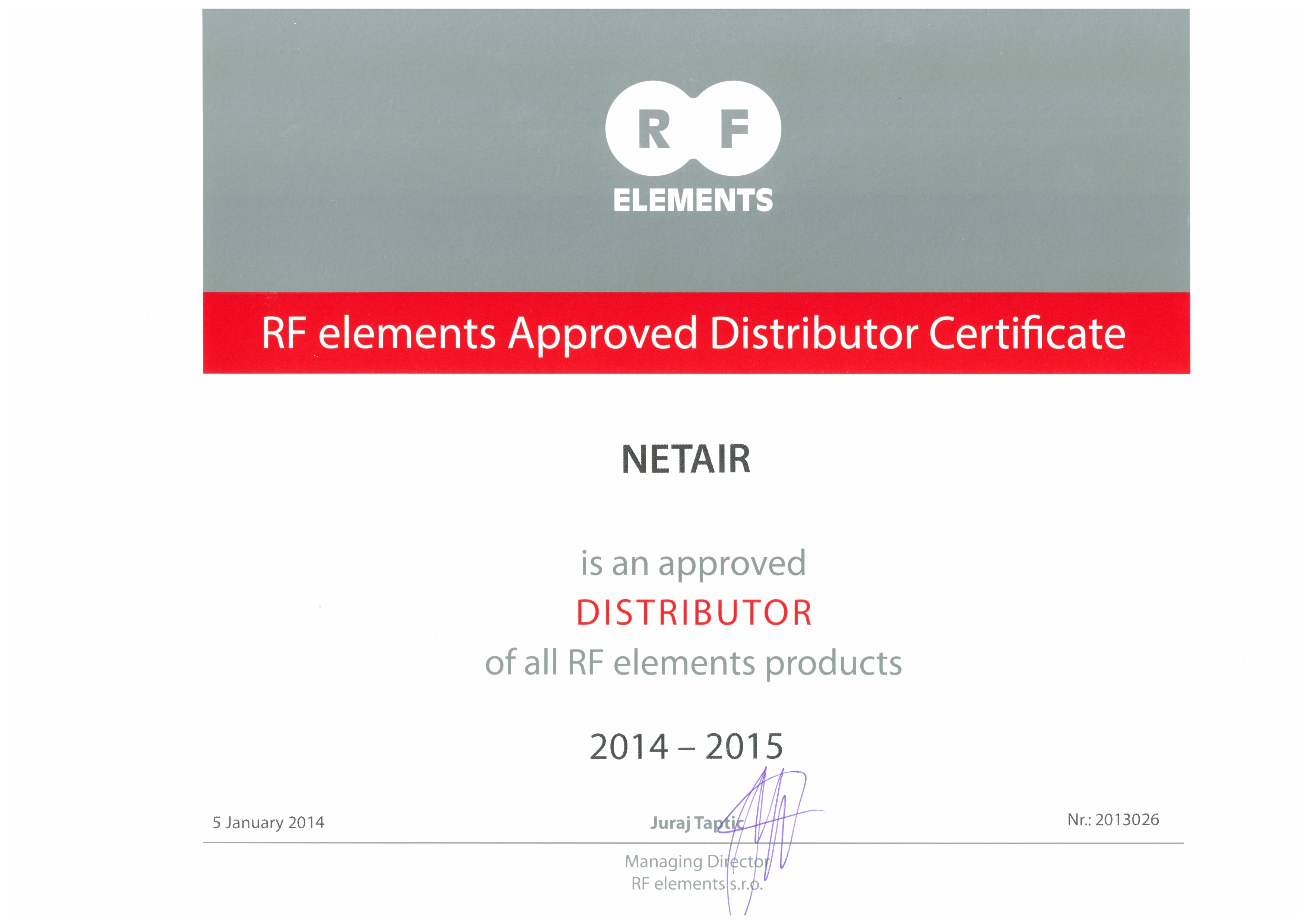Сертификат дистрибьютора RF Elements